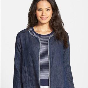Eileen Fisher Organic Cotton Short Denim Jacket L